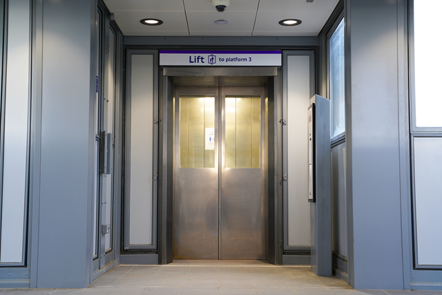Newly installed lifts at Acton Main Line station