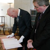 Cabinet Paper Release: Minister for Parliamentary Business Joe FitzPatrick and Bruno Longmore, Head of Government Records at National Records of Scotland, with the newly-released Scottish Cabinet papers from 1999
