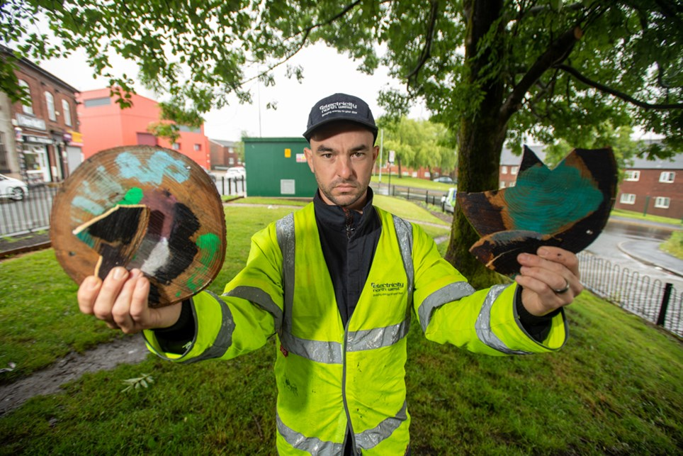 Electricity North West's David Hodgkins who is maintaining the site in Oldham