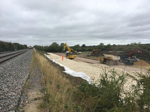 Embankment repairs on the Chiltern main line near Bicester