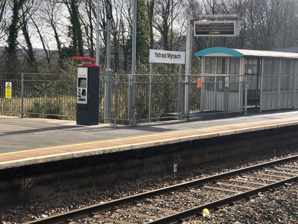 Ystrad Mynach station with new ticket machine