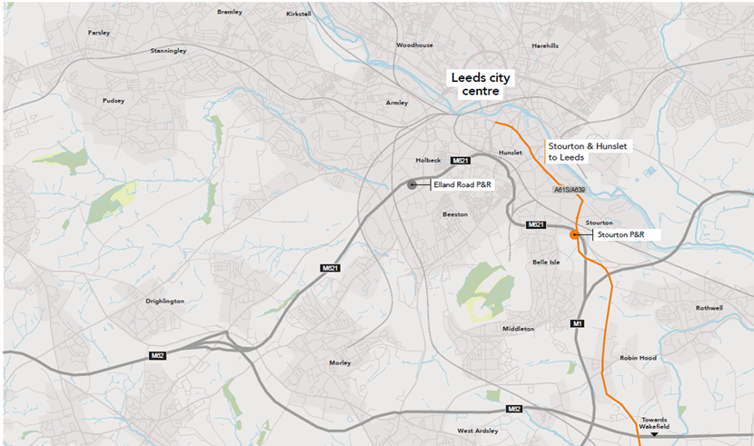 Update on transforming the A61 south bus corridor: A61S Route Map