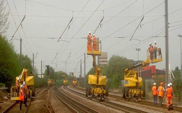 East Coast Mainline Engineering Works: Network Rail's major projects and maintenance teams renew the overhead lines between Kings Cross and Hitchin on the East Coast Main Line