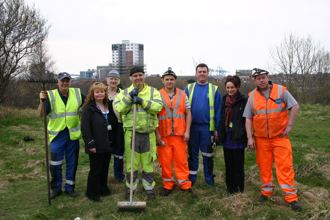 Litherland clean up: Staff from Sefton Council's Community Engagement and Neighbourhood Liveability Teams and Network Rail at the clean-up operation in Litherland