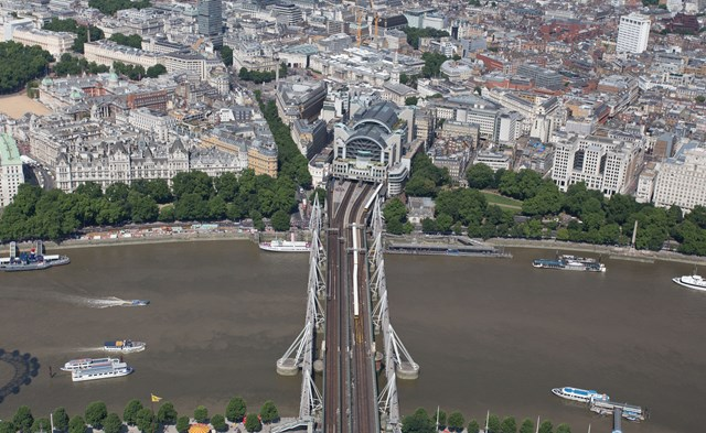 aerial - Charing Cross (3): Charing Cross railway station, Hungerford Bridge and twin Golden Jubilee bridges, with a couple of Southeastern class 465 trains in view