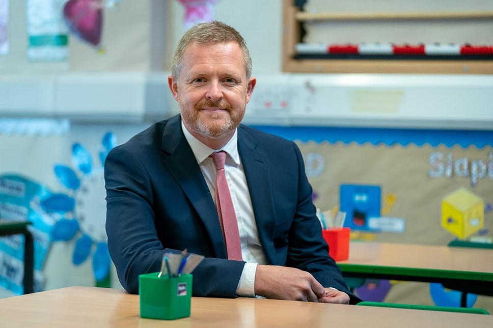 JM Jeremy Miles Education Minister - School Portrait, March 2021