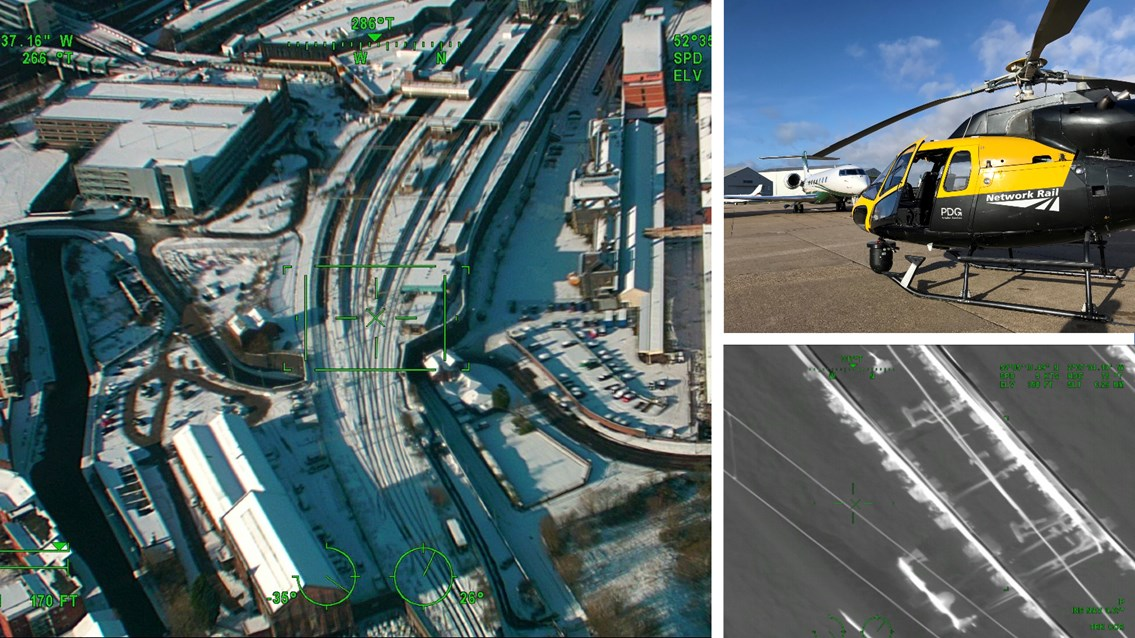 Helicopter surveys keep Wolverhampton and Tamworth stations' big freezes at bay: Helicopter snow surveys composite Wolverhampton station January 2021