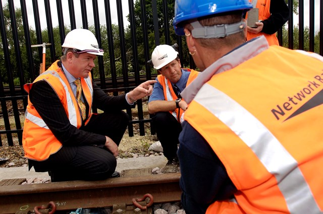 Rail Minister on the training track at Paddock Wood