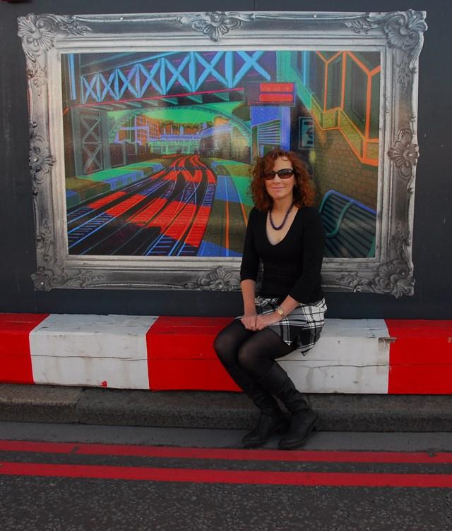 Gail Brodholt with her artwork on Blackfriars Bridge
