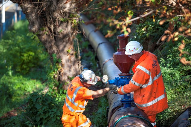 Passengers set to benefit from £6 million flood alleviation scheme: Engineers install a new pipe which will carry rain water away