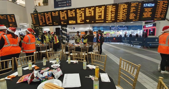 Birmingham New Street Christmas Eve Meal 2019 - tables set on the concourse