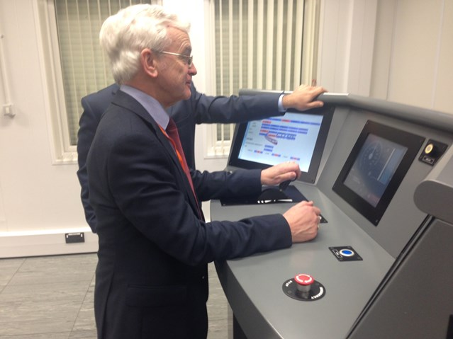 Parliamentary visit to European Train Control System test centre: Martin Vickers with the Hitachi ETCS driving simulator