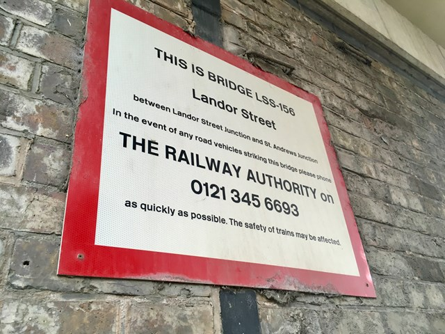 Sign on Landor Street bridge