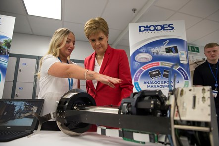 Diodes4: Diodes apprentice Caitlin Kirk with the First Minister