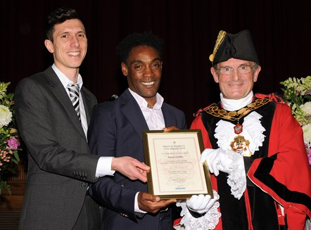 Steve Griffith - winner of the Mayor's Civic Awards 2019: With Ramzy Alwakeel, Editor of the Islington Gazette and Mayor of Islington Cllr Dave Poyser