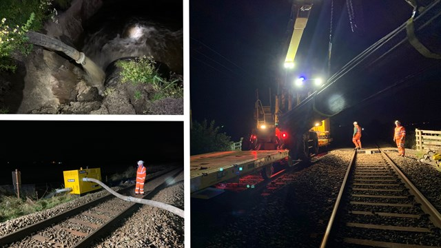 Engineers make emergency flood damage repairs between Wigan and Southport: Burscough flooding repairs composite
