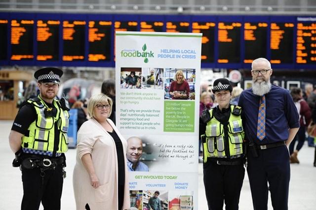 Glasgow Central is platform for foodbank collection: food bank promo at station