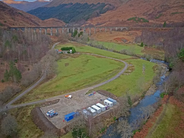 Glenfinnan Viaduct is the back drop to railway protection work: Glenfinnan Aerial Photo (1)