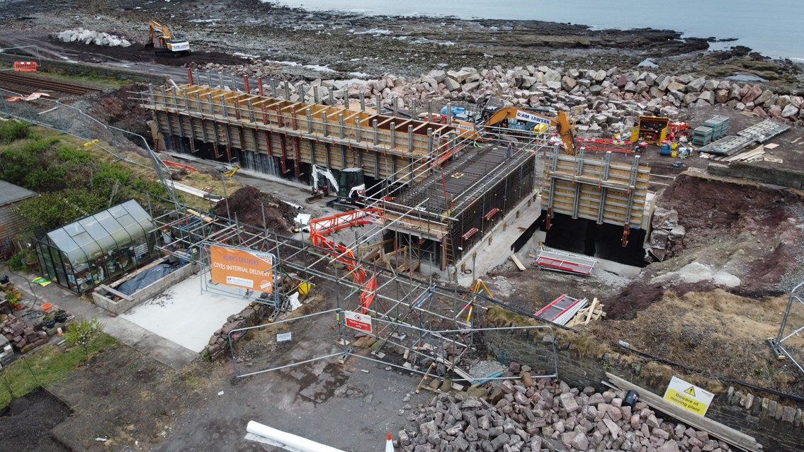 Storm damaged Cumbrian Coast line set to reopen in one month: Parton aerial view - 28.04.20 2