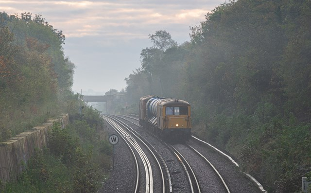 A rail head treatment train in the mist outside Whitstable