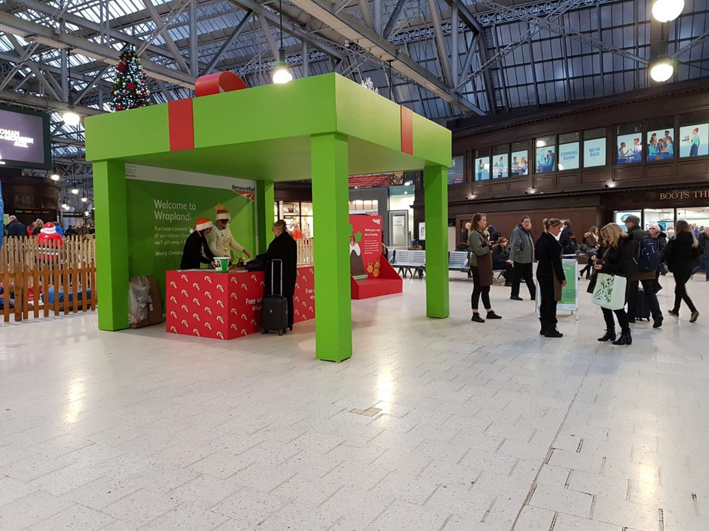 Network Rail has Christmas wrapped up for station shoppers: Wrapland - Glasgow Central booth
