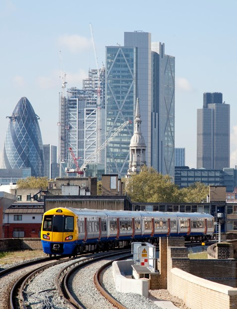 London Overground service with The City behind