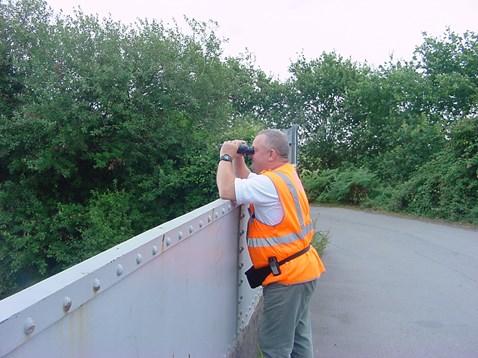 Human scarecrow, patrols Green Lane Bridge, Cardiff