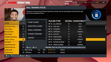 NBA 2K22 MyNBA Individual Training Focus