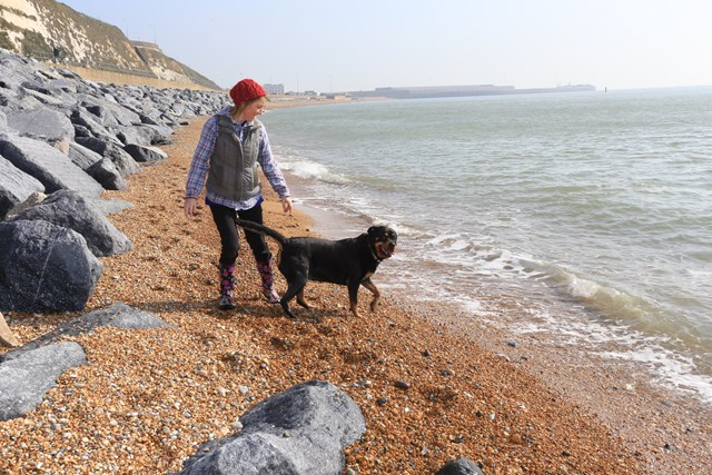 First visitors to Shakespeare Beach, Dover, at high tide: Karen Grant and Keira the Rottweiler are the first visitors to Shakespeare Beach since 2015 - pictured at high tide
