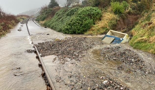 Railway staff working around the clock to clear Storm Christoph aftermath: Cambrian line flood jan 2021