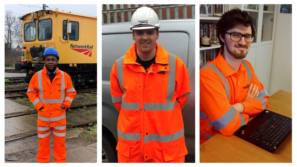 Three rail apprentices share their experience of on the job train-ing to celebrate National Apprenticeship Week: Anglia Apprentices group