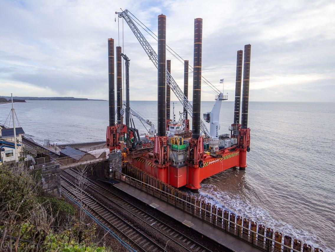 The Wavewalker installing piles at the Colonnade breakwater