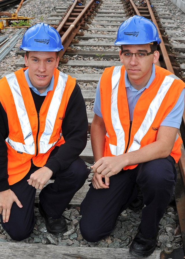Network Rail launches its 2013 apprenticeship scheme in the east of England: Network Rail apprentices Luke Boggis and Aaron Gould, Ipswich and Norwich