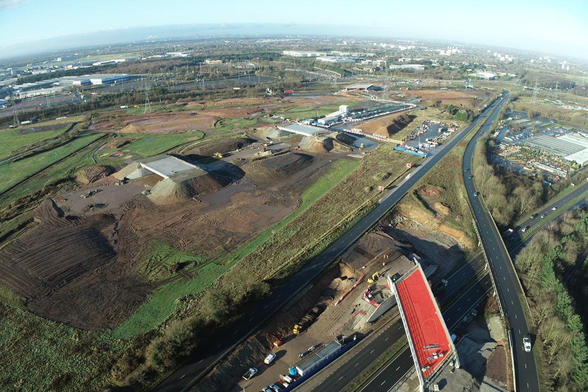 Four new bridges at Interchange Station site in Solihull: Credit: HS2 Ltd.  (LM, construction, innovation, modular construction, DfMA, Interchange, year in numbers, 2020) Internal Asset No. 20156