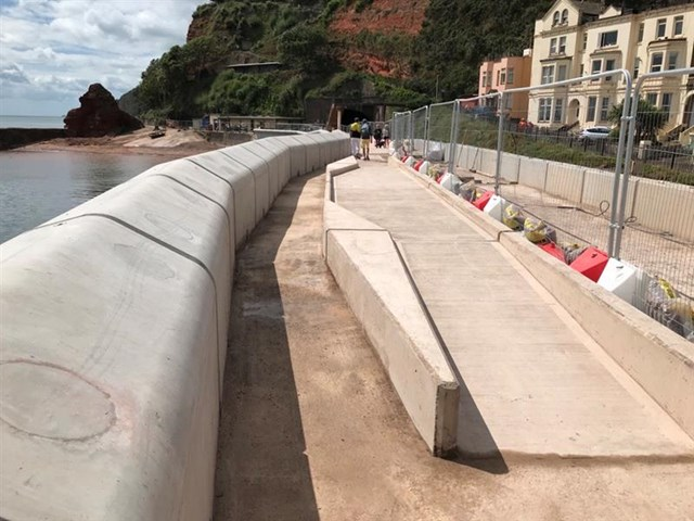 The new sea wall at Dawlish