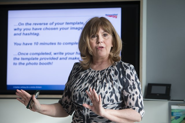 TeenTech founder Maggie Philbin talks to finalists at Network Rail's Could IT Be You? IT for girls competition event