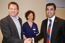 Humza Yousaf announces £9m for Malawi: International Development Minister with Dr Ewan Brown and Fiona Taylor from the Edinburgh Malawi Cancer Partnership, which is to receive£185,340 from the 2015-2018 Malawi Development Programme.