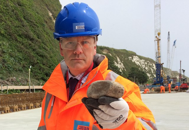 Major weekend of progress at Dover sea wall marred by rock-throwing youths: Major weekend of progress at Dover sea wall marred by rock-throwing youths: Dover and Deal MP Charlie Elphicke with a rock thrown by yobs