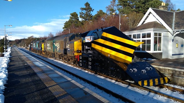 Network Rail ploughs ahead with £1.7m winter fleet refurbishment: Refurbished Independent plough on journey from Derby to Scotland