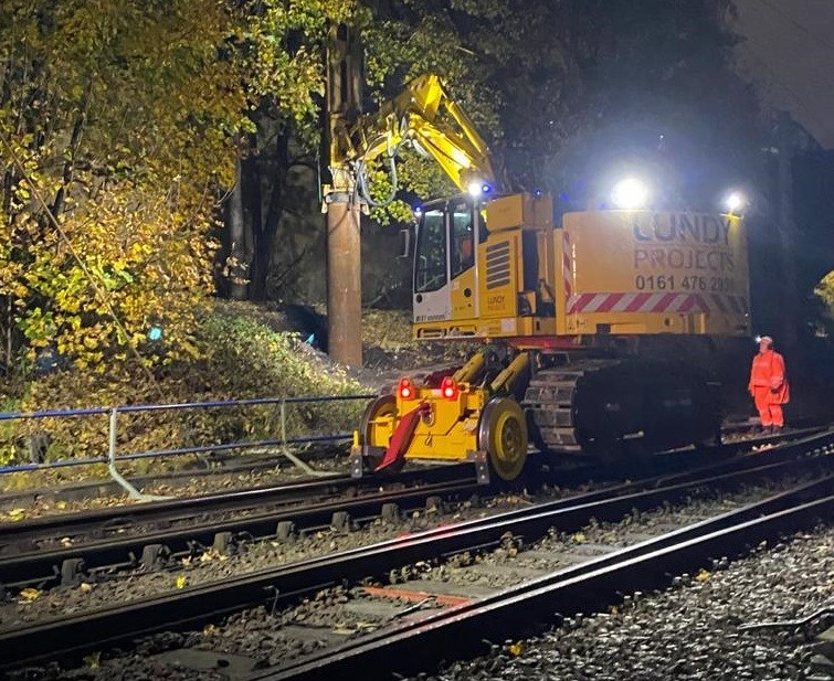 Rail engineering upgrades continue in Manchester: Overhead line equipment piling typically has to be carried out overnight for safety reasons while trains are not running