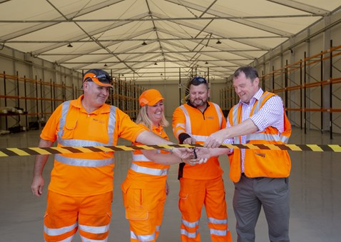 Cutting the ribbon Left to right Phil Bevan Strategic Spares Co-ordinator, Amanda Pike Material Support Manager, Simon McColgan Business Support Manager, Rob Morton Supply Chain Operations Director