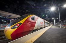 First electric test train at Blackpool North station