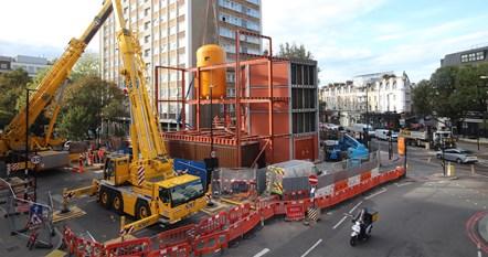 Bunhill 2 Energy Centre Construction - Boiler craned into position: The Bunhill 2 Energy Centre under construction on the edge of City Road, Islington