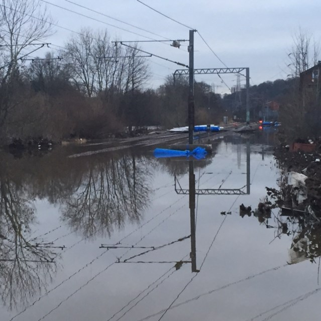 Engineering completed and flood water cleared in parts of Yorkshire: Flooding at Kirkstall on 27 Dec