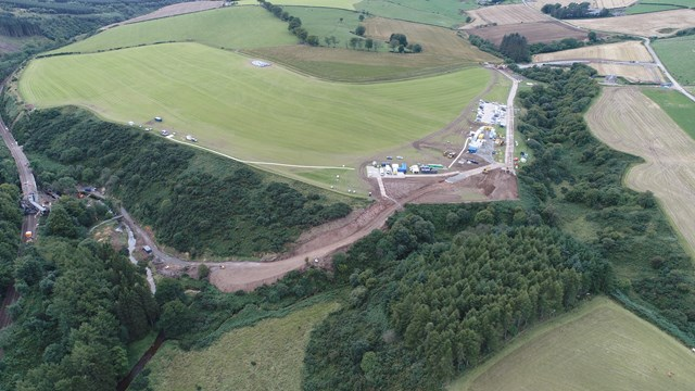 Work to reopen the railway at Stonehaven begins: Stonehaven, prep works aerial.
