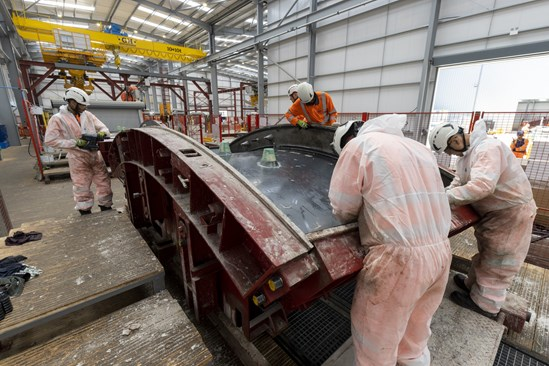 Ring section assembly at the Chilterns South Portal: Credit: HS2 Ltd