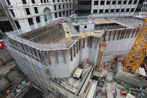 TfL Image - The new station entrance building on Cannon Street shortly before the roof was completed