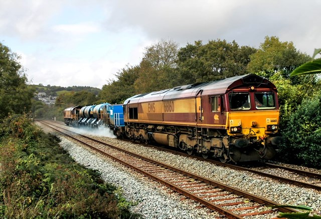 Leaves on the line is no joke but we're on the case in Sussex where jet-washing trains will travel the equivalent of 3 times around the Earth cleaning the railway: Autumn treatment 2