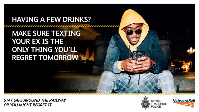 Network Rail and British Transport Police urge revellers to take care as alcohol-related incidents reach record levels on Britain's railways: Intoxication campaign poster