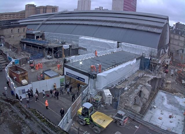 Demolition work complete on Glasgow Queen Street station: 4 Oct 18 Timelapse camera image